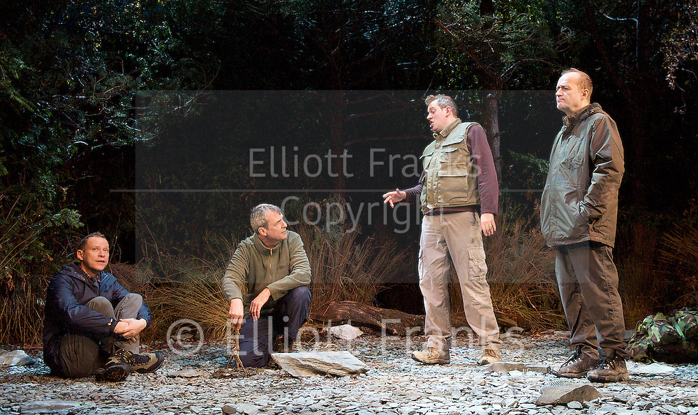 Neville's Island <br /> by Tim Firth <br /> at Duke of York's Theatre, London, Great Britain <br /> 17th October 2014 <br /> press photocall<br /> <br /> <br /> Robert Webb as Roy <br /> Neil Morrissey as Neville<br /> Miles Jupp as Angus<br /> Adrian Edmondson as Gordon <br /> <br /> <br /> Photograph by Elliott Franks <br /> Image licensed to Elliott Franks Photography Services