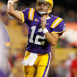 November 12, 2011; Baton Rouge, LA, USA; LSU Tigers quarterback Jarrett Lee (12) prior to kickoff of of a game against the Western Kentucky Hilltoppers at Tiger Stadium. LSU defeated Western Kentucky 42-9. Mandatory Credit: Derick E. Hingle-US PRESSWIRE