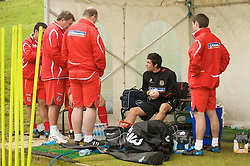 CARDIFF, WALES - Monday, October 13, 2008: Wales' Gareth Bale tests an ankle problem with the medical staff after limping out of training at the Vale of Glamorgan Hotel ahead of the 2010 FIFA World Cup South Africa Qualifying Group 4 match against Germany. (Photo by David Rawcliffe/Propaganda)