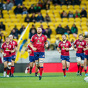 Scott Higginbotham (captain) leads out the Reds during the Super rugby union game (Round 14) played between Hurricanes v Reds, on 18 May 2018, at Westpac Stadium, Wellington, New  Zealand.    Hurricanes won 38-34.