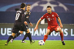 Xabi Alonso #14 of FC Bayern Munchen and Paulo Machado #10 of GNK Dinamo Zagreb during football match between GNK Dinamo Zagreb and Bayern München in Group F of Group Stage of UEFA Champions League 2015/16, on December 9, 2015 in Stadium Maksimir, Zagreb, Croatia. Photo by Ziga Zupan / Sportida
