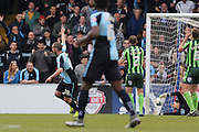 Wycombe Wanderers defender Michael Harriman (19) scores to make it 1-1 during the Sky Bet League 2 match between Wycombe Wanderers and AFC Wimbledon at Adams Park, High Wycombe, England on 2 April 2016. Photo by Stuart Butcher.