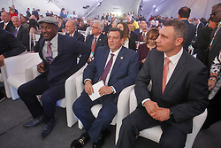 October 1, 2018 - Kiev, Ukraine - (L-R) Ex boxing champion Lennox Lewis,WBC President Mauricio Sulaiman and Kiev's Mayor and ex heavyweight boxing champion Vitali Klitschko attend an official opening of the 56th WBC ( World Boxing Council ) Convention in Kiev, Ukraine, 01 October, 2018. The 56th WBC Convention takes place in Kiev from September 30 to October 05. The event participate of boxing legends Lennox Lewis, Evander Holyfield, Eric Morales, Alexander Usik, Vitali Klitschko and about 700 congress participants from 160 countries. (Credit Image: © Str/NurPhoto/ZUMA Press)