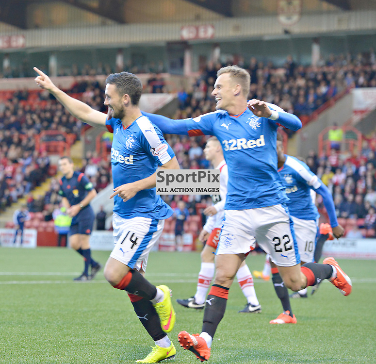 Nicky Clark of Rangers points his side towards the next round of the Cup against Airdie with Dean Shiels helping<br /> (c) BILLY WHITE | SportPix.org.uk
