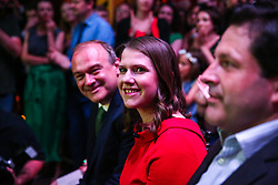 © Licensed to London News Pictures. 22/07/2019. London, UK. JO SWINSON (R) and SIR ED DAVEY (L) at the leadership announcement event in Westminster. <br /> JO SWINSON is elected as the new leader of the Liberal Democrats. JO SWINSON, MP for East Dunbartonshire, won the leadership election receiving 47,997 votes. Photo credit: Dinendra Haria/LNP