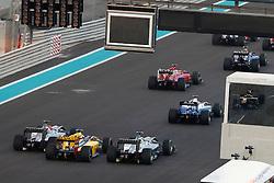 Motorsports / Formula 1: World Championship 2010, GP of Abu Dhabi, 03 Michael Schumacher (GER, Mercedes GP Petronas),   12 Vitaly Petrov (RUS, Renault F1 Team), 04 Nico Rosberg (GER, Mercedes GP Petronas),