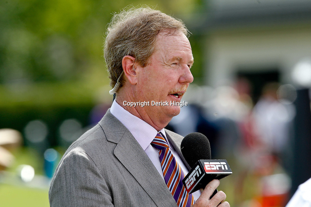July 29, 2011; Metairie, LA, USA; ESPN television personality Ed Werder reports from the field during the first day of training camp at the New Orleans Saints practice facility. Mandatory Credit: Derick E. Hingle
