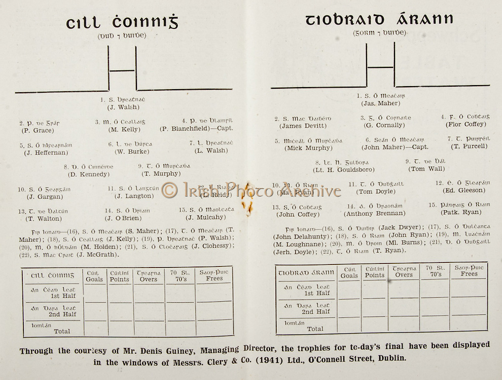 All Ireland Senior Hurling Championship Final,.Brochures,.02.09.1945, 09.02.1945, 2nd September 1945,.Tipperary 5-6, Kilkenny 3-6, .Minor Dublin v Tipperary, .Senior Tipperary v Kilkenny, .Croke Park, ..Killkenny Senior Team, J Walsh, Goalkeeper, P Grace, Right corner-back, M Kelly, Full-back, P Blanchfield, Captain, Left corner-back, J Heffernan, Right half-back, W Burke, Centre half-back, L Walsh, Left half-back, D Kennedy, Midfielder, T Murphy, Midfielder, J Gargan, Right half-forward, J Langton, Centre half-forward, L Reidy, Left half-forward, T Walton, Right corner-forward, J O'Brien, Centre forward, J Mulcahy, Left corner-forward, Substitutes, S Maher, T Maher, J Kelly, P Walsh, M Holden, J Clohessy, J McGrath, ..Tipperary Senior Team, Jas Maher, Goalkeeper, James Devitt, Right corner-back, G Cornally, Full-back, Flor Coffey, Left corner-back, Mick Murphy, Right half-back, John Maher, Captain, Centre half-back, T Purcell, Left half-back, Lt H Gouldsboro, Midfielder, Tom Wall, Midfielder, Mat Ryan, Right half-forward, Tom Doyle, Centre half-forward, Ed Gleeson, Left half-forward, John Coffey, Right corner-forward, Anthony Brennan, Centre forward, Patk Ryan, Left corner-forward, Substitutes, Jack Dwyer, John Delahunty, John Ryan, M Loughnane, Ml Burns, Jerh. Doyle, T Ryan,