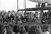 Sha-Na-Na playing at dawn at the at the Woodstock rock festival at Max Yasgur's 600 acre farm, in the rural town of Bethel, NY, on August 18, 1969.