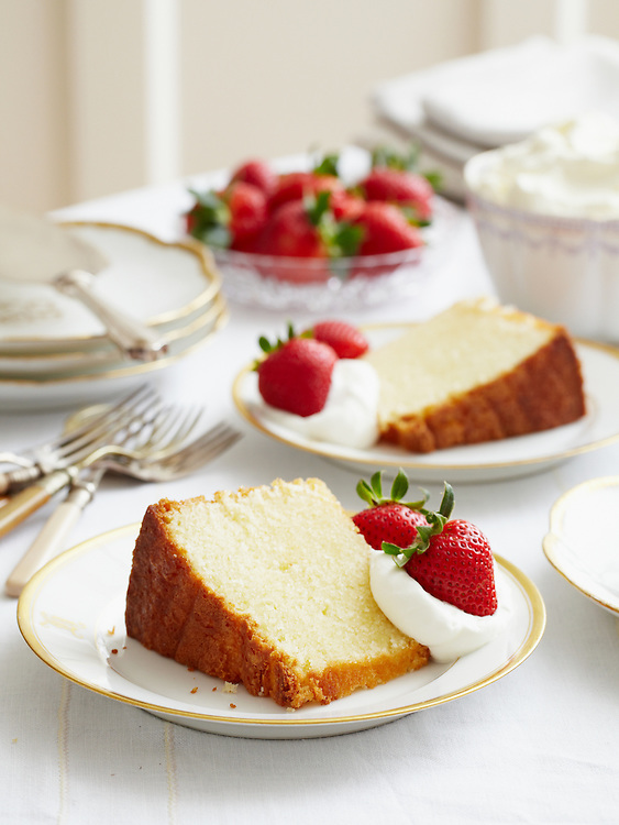 Poundcake with Strawberries and Cream from Around the Southern Table Cookbook