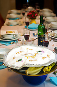 Table set for a Jewish Festive meal on Passover (transliterated as Pesach or Pesah)