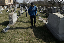 Small group of Muslims from New Jersey visit the Mt. Carmel Jewish Cemetery in Northwest Philadelphia, PA, on Feb. 27, 2017. Over the weekend hundreds of headstones were vandalized.