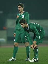 Luka Zinko (7) and Dalibor Stevanovic (10) of Slovenia during the UEFA Friendly match between national teams of Slovenia and Denmark at the Stadium on February 6, 2008 in Nova Gorica, Slovenia.  Slovenia lost 2:1. (Photo by Vid Ponikvar / Sportal Images).