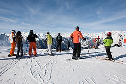 THEMENBILD - Adlerlounge im Grossglocknerresort. Wintersportler genissen die Aussicht auf ide zahlreichen 3000er im Nationalpark Hohe Tauern, Kals am 27.02.2010. EXPA Pictures © 2010, PhotoCredit: EXPA/ Johann Groder