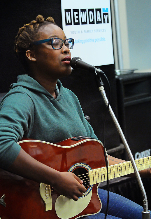 jt072517d/ a sec/jim thompson/ Former client of the New Day Youth and Family Services and now a aspiring singer/song writer sang a song at the close of the press conference. Tuesday,  July. 25, 2017. (Jim Thompson/Albuquerque Journal)