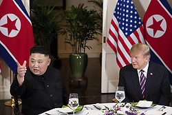 February 27, 2019 - Hanoi, Vietnam - U.S President DONALD TRUMP  and North Korean leader and KIM JUNG-UN sit together during a social dinner at the Sofitel Legend Metropole hotel in Hanoi, Vietnam. (Credit Image: © Joyce N. Boghosian via ZUMA Wire)