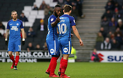 Junior Morias of Peterborough United talks tactics with team-mate Danny Lloyd - Mandatory by-line: Joe Dent/JMP - 30/12/2017 - FOOTBALL - Stadium MK - Milton Keynes, England - Milton Keynes Dons v Peterborough United - Sky Bet League One