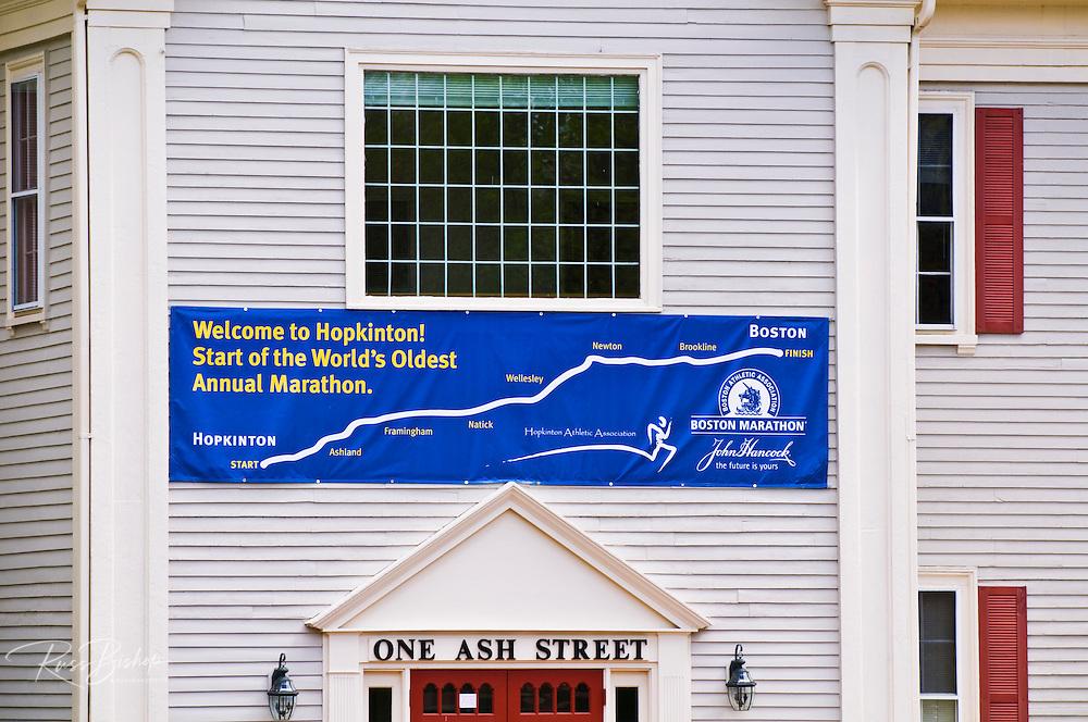 Course banner at the starting line of the Boston Marathon (World's oldest annual), Hopkinton, Massachusetts