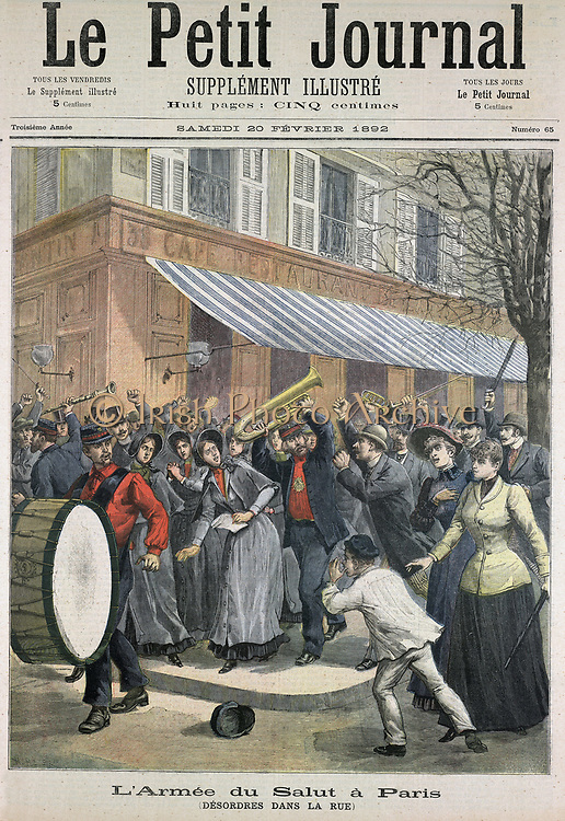 Salvation Army march led by drummer being barracked by onlookers in Paris. From 'Le Petit Journal' (Paris 20 February 1892).
