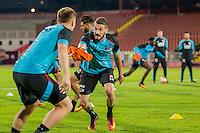 NOVI SAD - 17-08-2016, Vojvodina - AZ, Karadjordje Stadion, training, persconferentie, AZ speler Mattias Johansson, AZ speler Rajko Brezancic