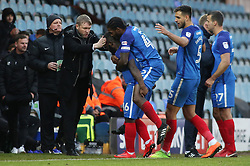 Junior Morias of Peterborough United is congratulated by team-mates and Manager Grant McCann after scoring the opening goal of the game - Mandatory by-line: Joe Dent/JMP - 20/01/2018 - FOOTBALL - ABAX Stadium - Peterborough, England - Peterborough United v Oldham Athletic - Sky Bet League One