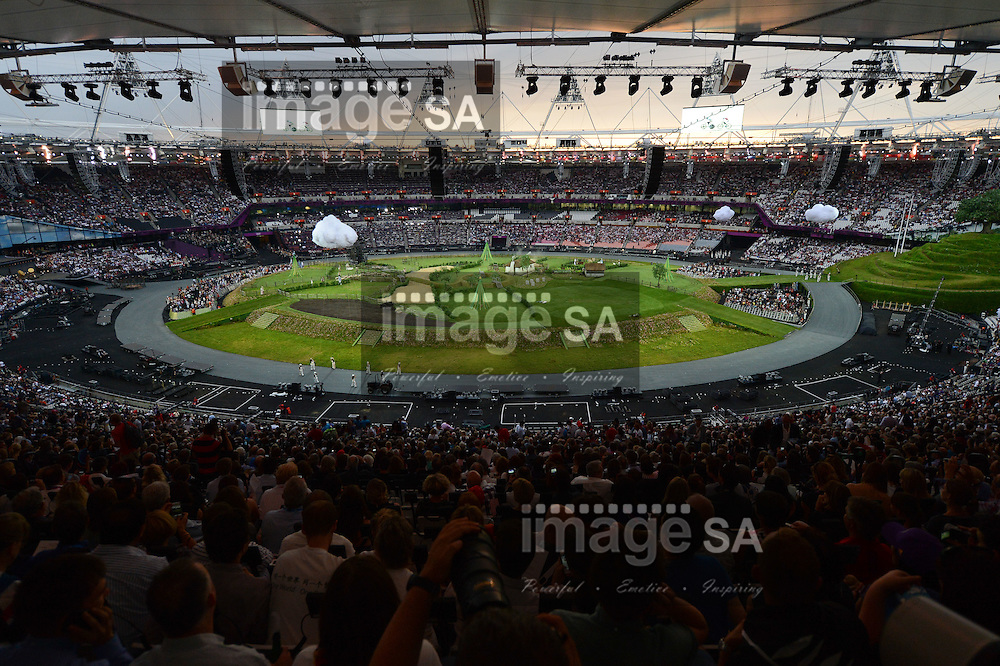 LONDON, ENGLAND - JULY 27, a general view inside the stadium  during London Olympics Opening Ceremony at the Olympic Stadium on July 27, 2012 in London, England.Photo by Roger Sedres / Gallo Images