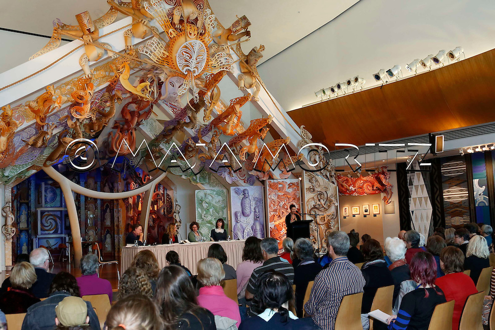 Public Reading in the Marae (Maori Meeting House) of the National Museum of New Zealand Te Papa Tongarewa, Wellington, New Zealand
