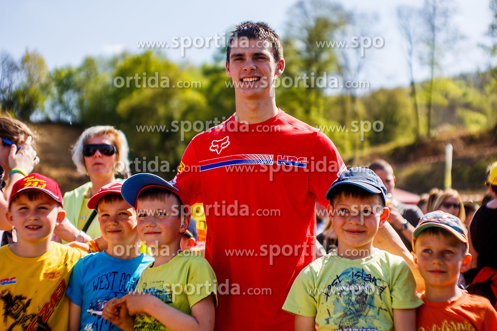 Tim Gajser #243 of Slovenia with fans during motocross race for Slovenian national championship in Prilipe, Brezice, Slovenija on 9th of April, 2017, Slovenia. Photo by Grega Valancic / Sportida