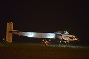 NANJING, CHINA - MAY 31: (CHINA OUT) <br /> <br /> The Swiss-made solar-powered plane Solar Impulse 2 preapres to take off from Nanjing Lukou International Airport on May 31, 2015 in Nanjing, Jiangsu Province of China. The plane left China for Hawaii on Sunday morning.<br /> ©Exclusivepix Media
