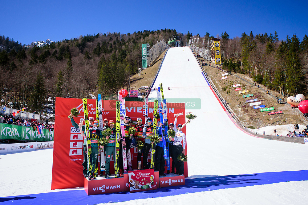March 23, 2019 - Planica, Slovenia - Winners of the team competition at Planica FIS Ski Jumping World Cup finals  on March 23, 2019 in Planica, Slovenia. From left: Team Germany, Team Poland and Team Slovenia. (Credit Image: © Rok Rakun/Pacific Press via ZUMA Wire)