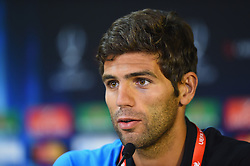 CARDIFF, WALES - Tuesday, August 12, 2014: Sevilla's Federico Fazio a press conference ahead of the UEFA Super Cup at Cardiff City Stadium.  (Pic by Pool/Getty Images/Propaganda)