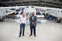 Saudi Crown Prince Mohammad bin Salman Al-Saud meets with Sir Richard Branson, (left) Founder of Virgin Group, during a visit to Virgin Galactic in Mojave, California, United States of America, on April 1st, 2018. The tour is part of Saudi Crown Prince to the United States of America. Photo by Balkis Press/ABACAPRESS.COM