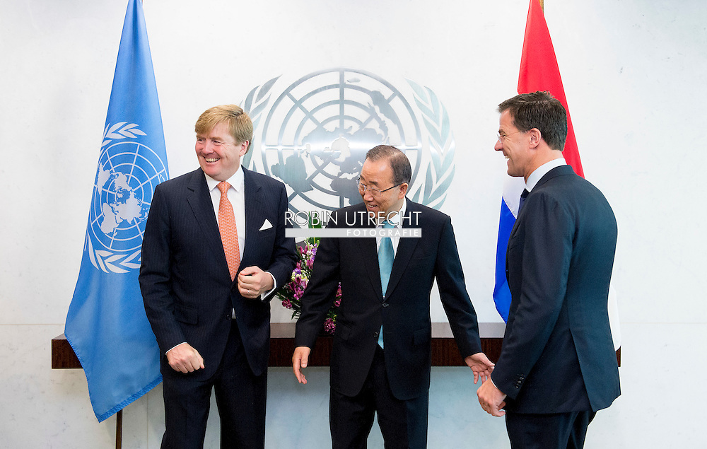 NEW  YORK - Queen Maxima and King Willem Alexander and en Secretary General Ban Ki-moon hands over the Financial  inclusion rapport NEW YORK . COPYRIGHT ROBIN UTECHT