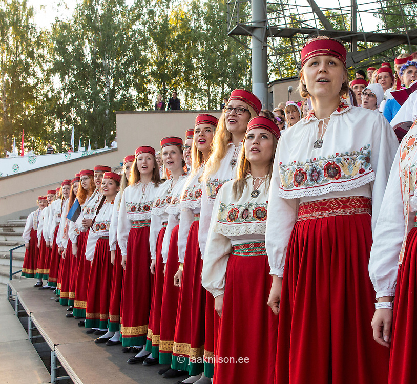 Song Festival 2014 in Tartu, Estonia. Choir singers in national dress.