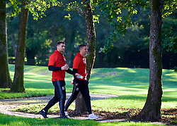 CARDIFF, WALES - Monday, October 9, 2017: Wales' Sam Vokes and Andy King during a pre-match walk at the Vale Resort ahead of the 2018 FIFA World Cup Qualifying Group D match between Wales and Republic of Ireland. (Pic by David Rawcliffe/Propaganda)