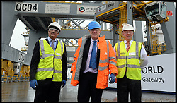 Mayor of London visit to DP World London Gateway.<br /> (C) The Mayor of London, Boris Johnson during a visit to the DP World London Gateway site to see for himself the progress made on its construction and to discuss the benefits the port will have for London,<br /> Essex, United Kingdom<br /> Tuesday, 30th July 2013<br /> Picture by Andrew Parsons / i-Images