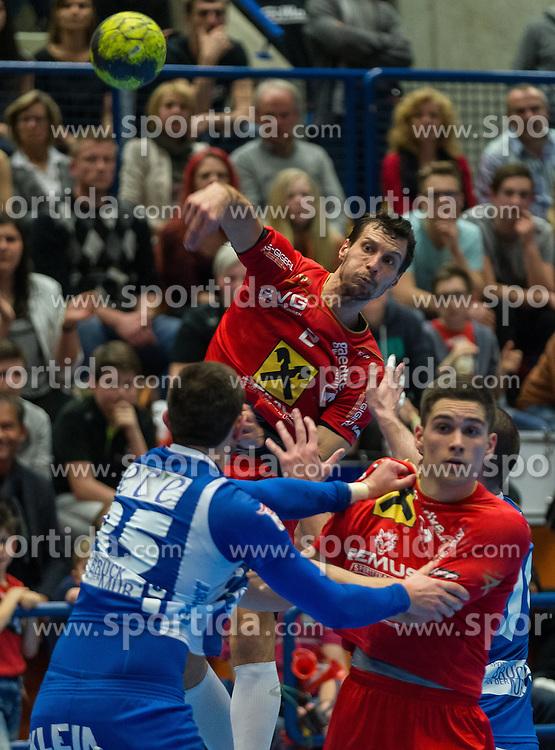 12.03.2016,Sporthalle Bruck an der Mur, Bruck an der Mur, AUT, HLA, HC ece bulls Bruck vs HSG Raiffeisen Baernbach/Koeflach, im Bild v.l.: Gerald Marko (Bruck), Gabor Grebenar (Baernbach/Koeflach), Timo Gesselbauer (Baernbach/Koeflach) // during the Handball League Austria match between HC ece bulls Bruck vs HSG Raiffeisen Baernbach/Koeflach at the sport Hall, Bruck an der Mur, Austria on 2016/03/12, EXPA Pictures © 2016, PhotoCredit: EXPA/ Dominik Angerer