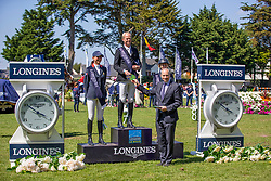 Guery Jerome, (BEL) winner of the Grand Prix Longines - Ville de La Baule<br /> second place Penelope Leprevost,third Meredith Michaels<br /> La Baule 2016<br /> © Hippo Foto - Dirk Caremans<br /> 15/05/16