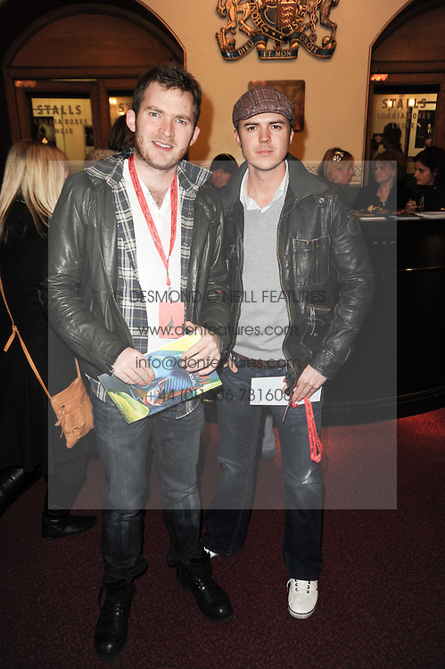 Left to right, Matt Littler and Darren Jeffries at the gala opening night of Cirque du Soleil's Varekai at the Royal Albert Hall, London on 5th January 2010.