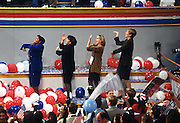 Democratic party activists dance the Macarena after President Bill Clinton accepted the nomination for president of the democrat party at the 1996 Democratic National Convention August 29, 1996 in Chicago, IL.