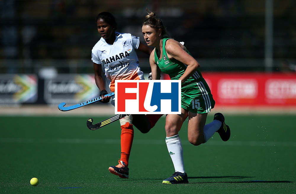 JOHANNESBURG, SOUTH AFRICA - JULY 22:  Gillian Pinder of Ireland battles with Namita Toppo of India during day 8 of the FIH Hockey World League Women's Semi Finals 7th/ 8th place match between India and Ireland at Wits University on July 22, 2017 in Johannesburg, South Africa.  (Photo by Jan Kruger/Getty Images for FIH)