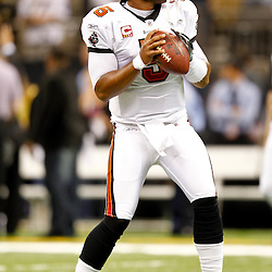 November 6, 2011; New Orleans, LA, USA; Tampa Bay Buccaneers quarterback Josh Freeman (5) prior to kickoff of a game against the New Orleans Saints at the Mercedes-Benz Superdome. Mandatory Credit: Derick E. Hingle-US PRESSWIRE