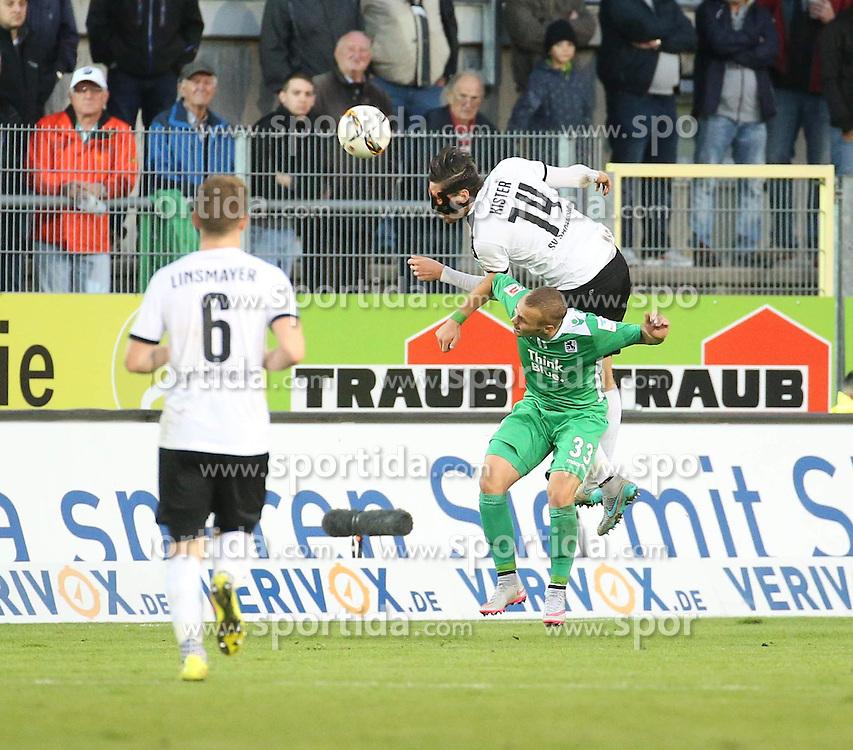 22.09.2015, Hardtwald, Sandhausen, GER, 2. FBL, SV 1916 Sandhausen vs TSV 1860 Muenchen, 8. Runde, im Bild Kopfball zwischen Tim Kister (SV Sandhausen) oben und Korbinian Vollmann (TSV 1860 Muenchen) unten // during the 2nd German Bundesliga 8th round match between SV 1916 Sandhausen and TSV 1860 Munich at the Hardtwald in Sandhausen, Germany on 2015/09/22. EXPA Pictures &copy; 2015, PhotoCredit: EXPA/ Eibner-Pressefoto/ Fudisch<br /> <br /> *****ATTENTION - OUT of GER*****