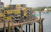 Lobster traps on a pier in Bass Harbor Maine