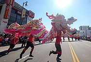 Dragon dancers perform during the 119th annual Chinese New Year &quot;Golden Dragon Parade&quot; in the streets of Chinatown in Los Angeles, Feburary 17, 2018. (Photo by Ringo Chiu)<br /> <br /> Usage Notes: This content is intended for editorial use only. For other uses, additional clearances may be required.
