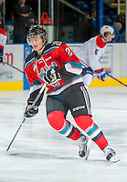 KELOWNA, CANADA - OCTOBER 10: Ryan Olsen #27 of the Kelowna Rockets warms up on the ice as the Spokane Chiefs visit the Kelowna Rockets on October 10, 2012 at Prospera Place in Kelowna, British Columbia, Canada (Photo by Marissa Baecker/Shoot the Breeze) *** Local Caption ***