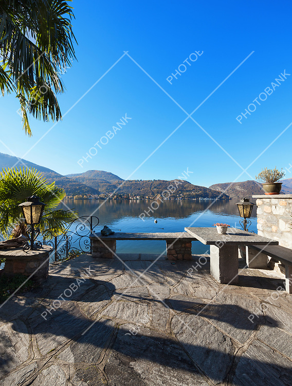 beautiful terrace overlooking Lake Lugano, Switzerland
