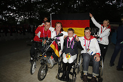 Zeibig, Steffen;<br /> Trabert, Angelika;<br /> Brenner, Hannelore;<br /> Näpel, Britta Fliegl, Bernhard;<br /> Zeibig, Steffen;<br /> Trabert, Angelika;<br /> Weifen, Lena;<br /> Brenner, Hannelore;<br /> Näpel, Britta;<br /> Bando, Britta, <br /> London Paralympics 2012<br /> Siegerehrung Garde III + Garde 1a<br /> © www.sportfotos-lafrentz.de/ Stefan Lafrentz