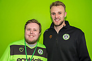 Forest Green Rovers goalkeeper Lewis Ward(34) with his sponsor during the EFL Sky Bet League 2 match between Forest Green Rovers and Carlisle United at the New Lawn, Forest Green, United Kingdom on 16 March 2019.