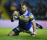 Adam Cuthbertson of Leeds Rhinos  celebrates scoreing the 1st try of the game against Hull Kingston Rovers during the Betfred Super League match at Elland Road, Leeds<br /> Picture by Stephen Gaunt/Focus Images Ltd +447904 833202<br /> 08/02/2018